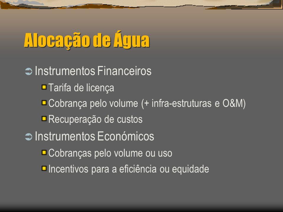 Alocação de Água Instrumentos Financeiros Instrumentos Económicos