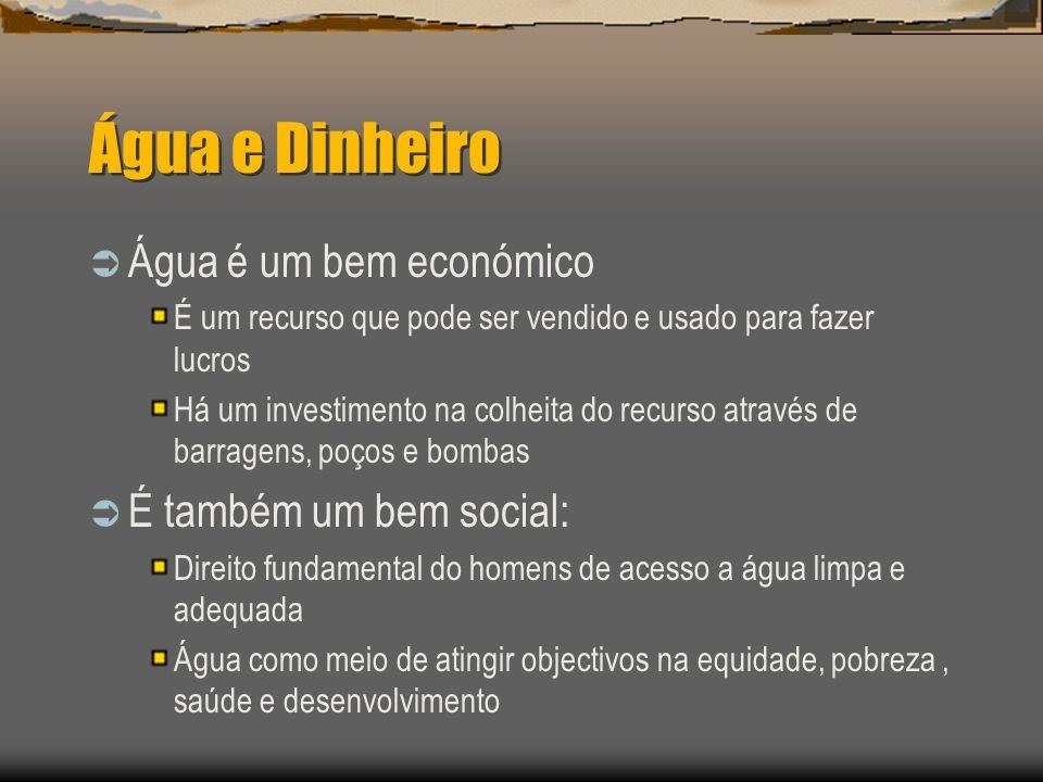Água e Dinheiro Água é um bem económico É também um bem social: