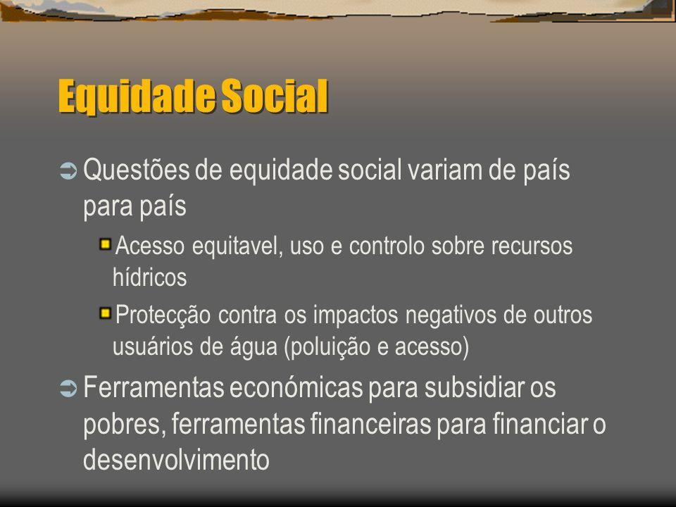 Equidade Social Questões de equidade social variam de país para país