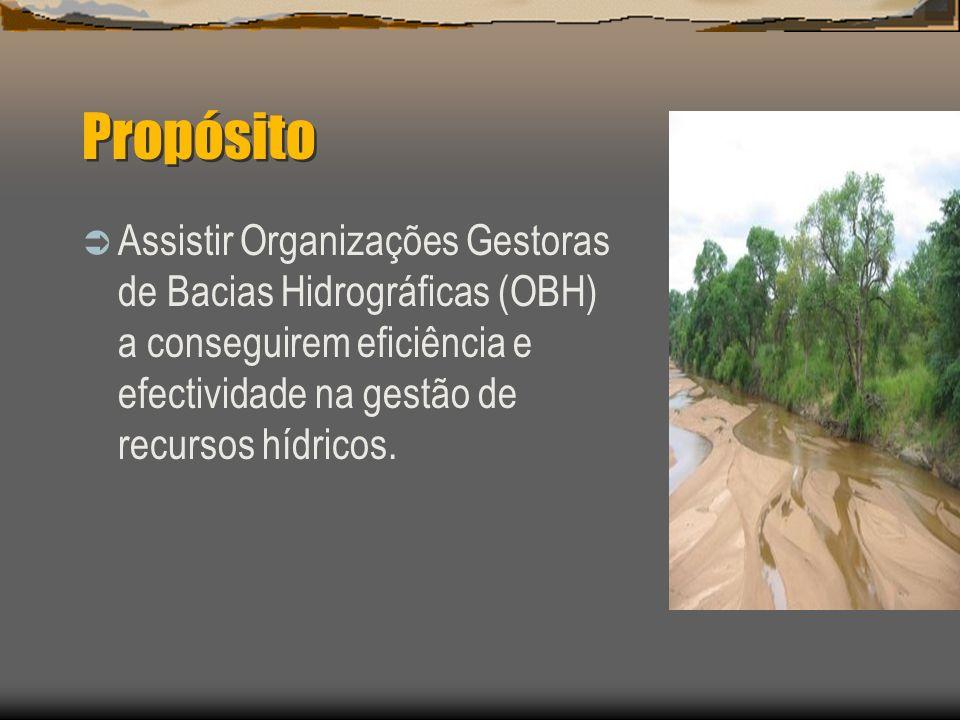 PropósitoAssistir Organizações Gestoras de Bacias Hidrográficas (OBH) a conseguirem eficiência e efectividade na gestão de recursos hídricos.