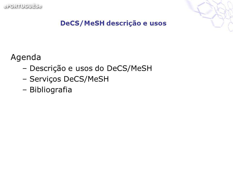 DeCS/MeSH descrição e usos