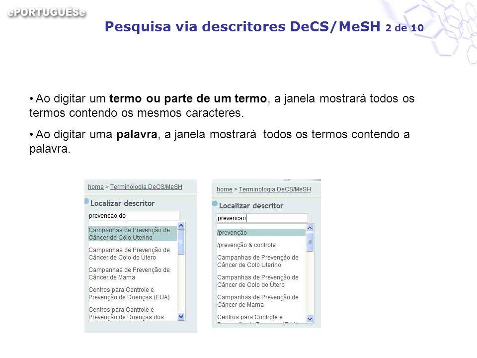 Pesquisa via descritores DeCS/MeSH 2 de 10