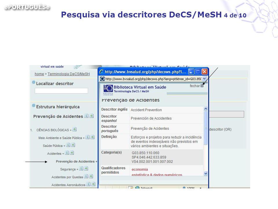 Pesquisa via descritores DeCS/MeSH 4 de 10