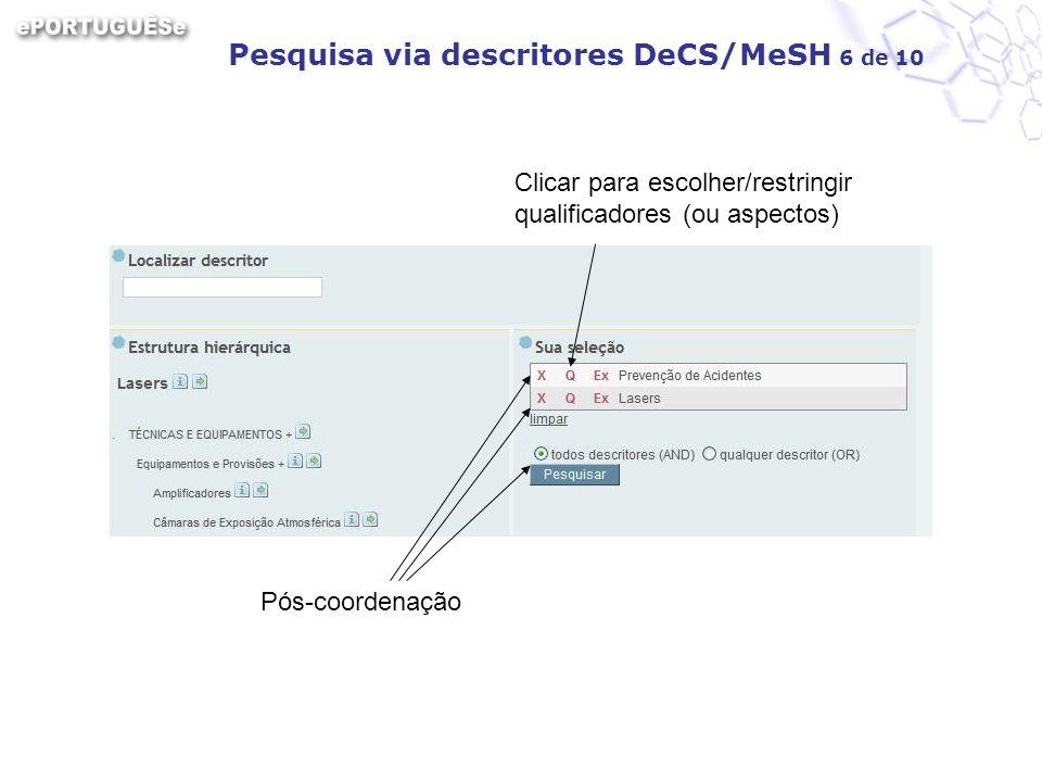 Pesquisa via descritores DeCS/MeSH 6 de 10