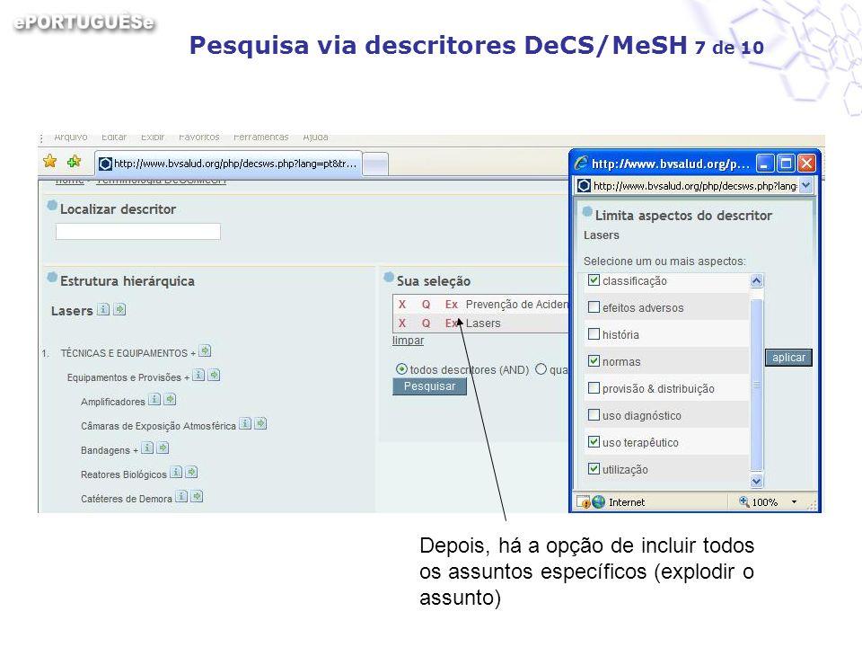 Pesquisa via descritores DeCS/MeSH 7 de 10