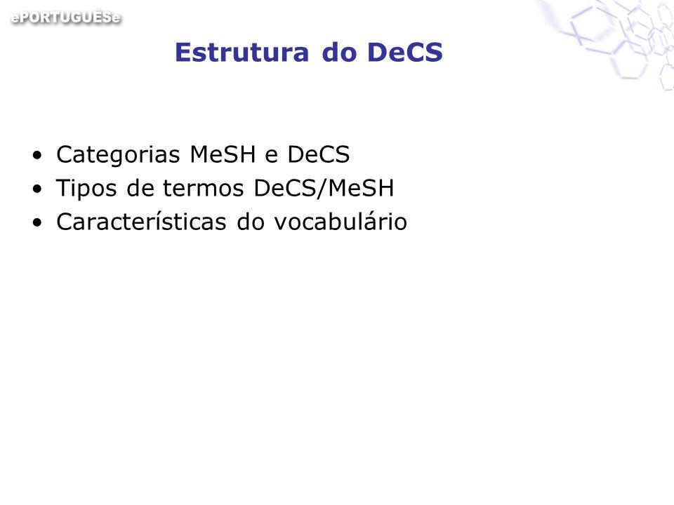 Estrutura do DeCS Categorias MeSH e DeCS Tipos de termos DeCS/MeSH