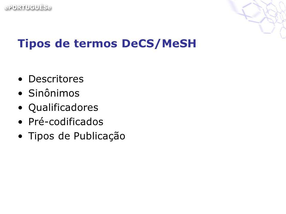 Tipos de termos DeCS/MeSH