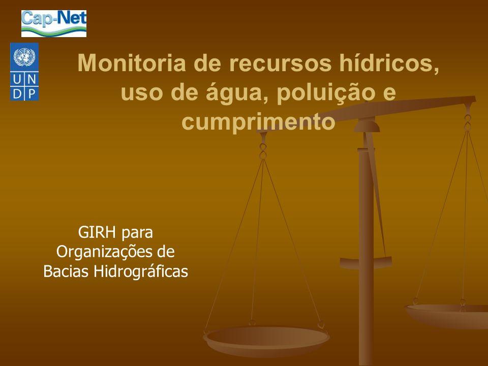 Monitoria de recursos hídricos, uso de água, poluição e cumprimento