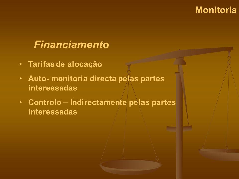 Financiamento Monitoria Tarifas de alocação