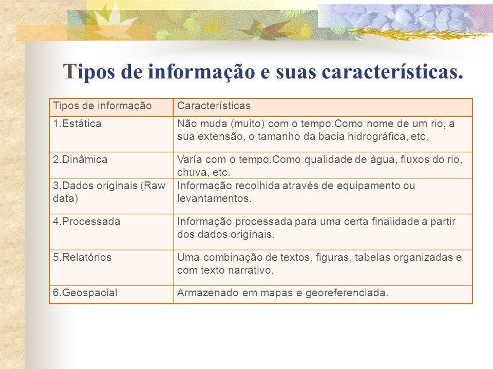 Tipos de informação e suas características.