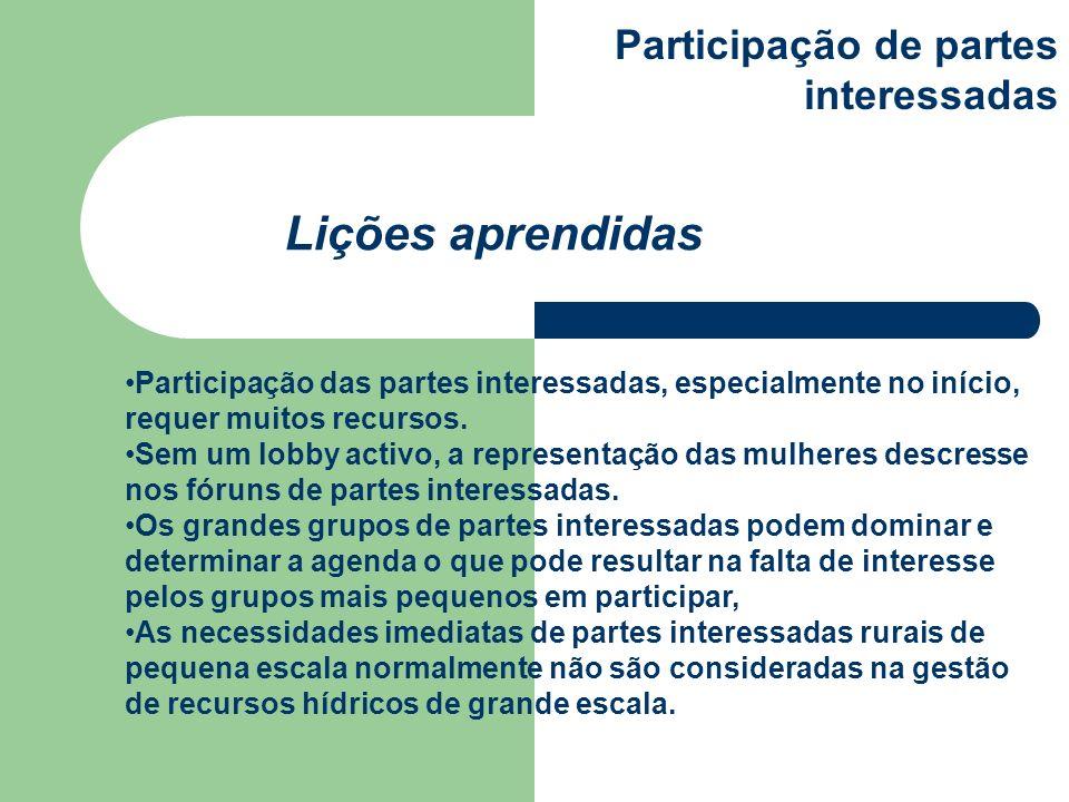 Lições aprendidas Participação de partes interessadas
