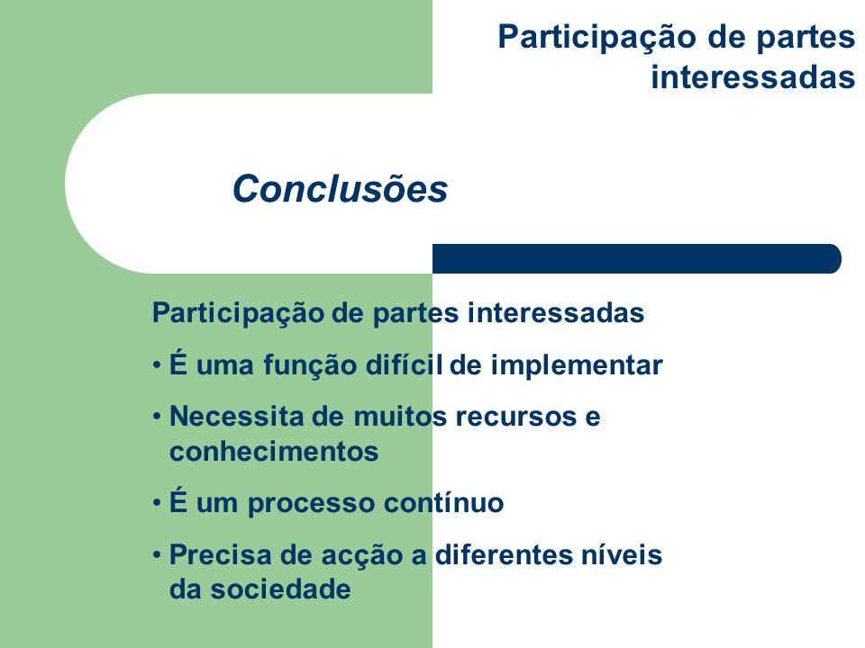 Conclusões Participação de partes interessadas