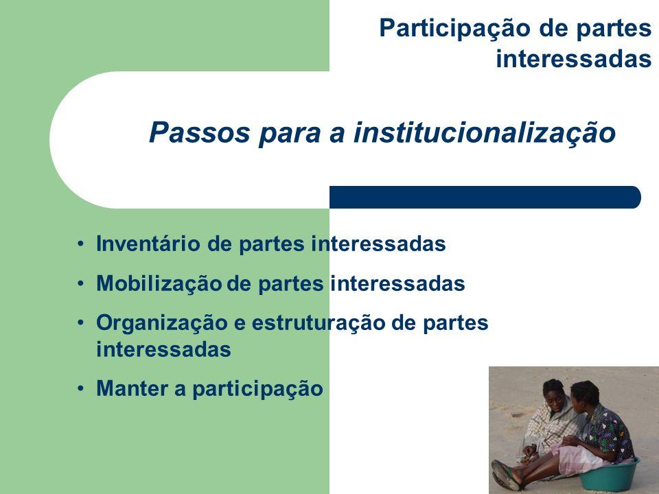 Passos para a institucionalização