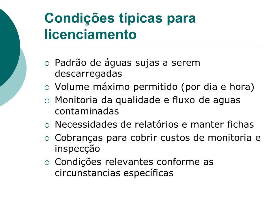 Condições típicas para licenciamento