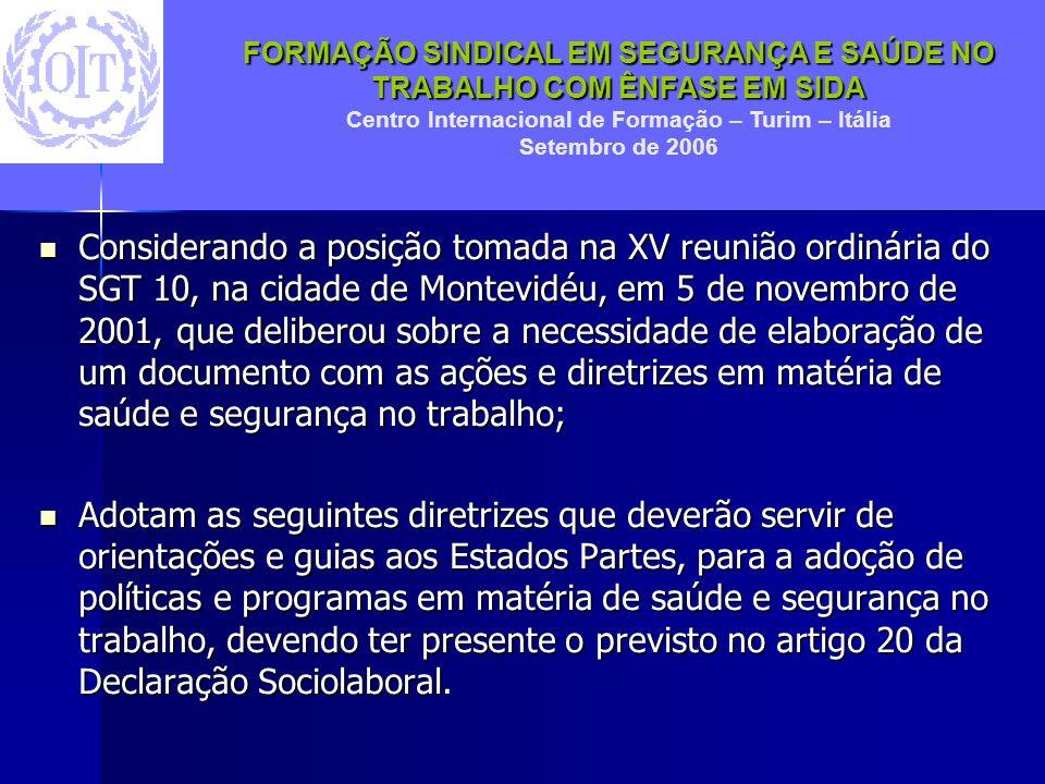 Considerando a posição tomada na XV reunião ordinária do SGT 10, na cidade de Montevidéu, em 5 de novembro de 2001, que deliberou sobre a necessidade de elaboração de um documento com as ações e diretrizes em matéria de saúde e segurança no trabalho;