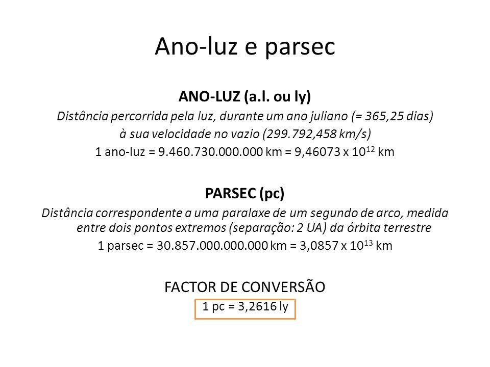 Ano-luz e parsec ANO-LUZ (a.l. ou ly) PARSEC (pc) FACTOR DE CONVERSÃO