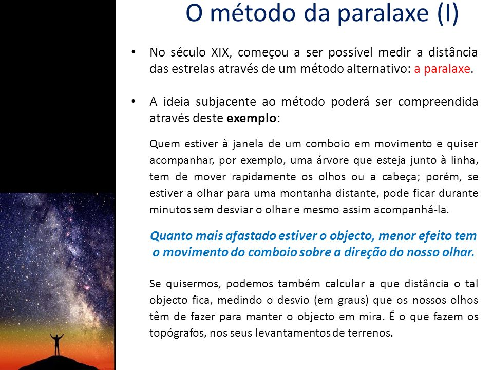 O método da paralaxe (I)