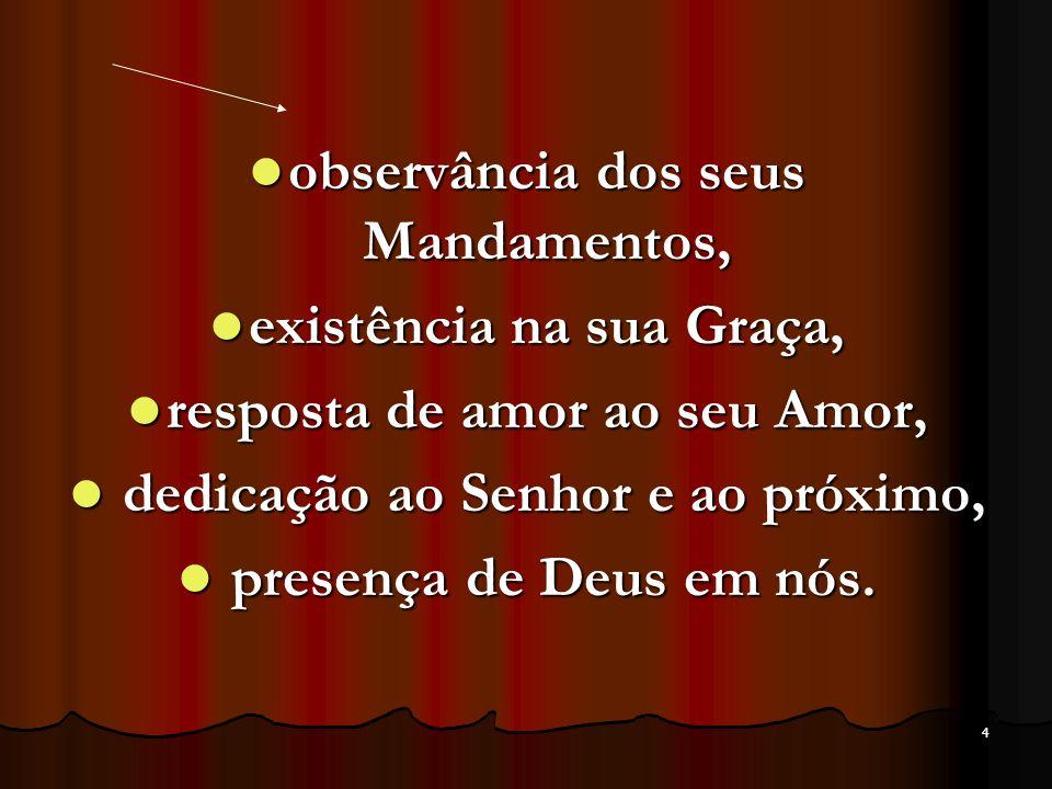 observância dos seus Mandamentos, existência na sua Graça,