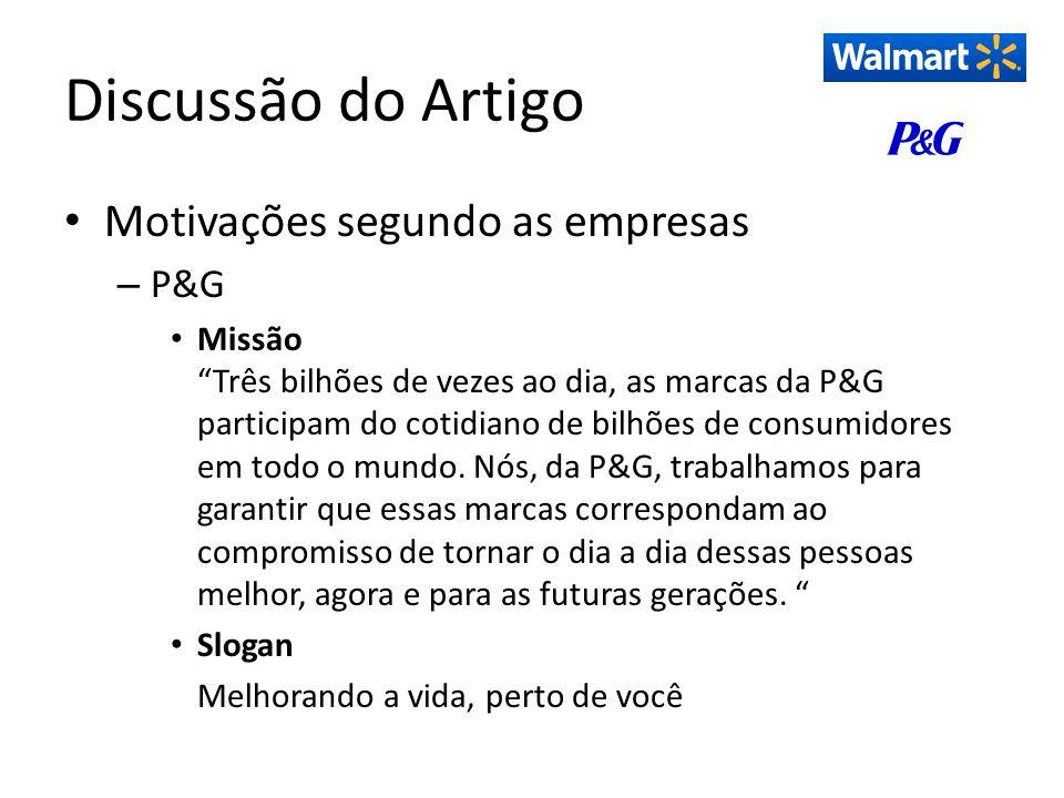 Discussão do Artigo Motivações segundo as empresas P&G