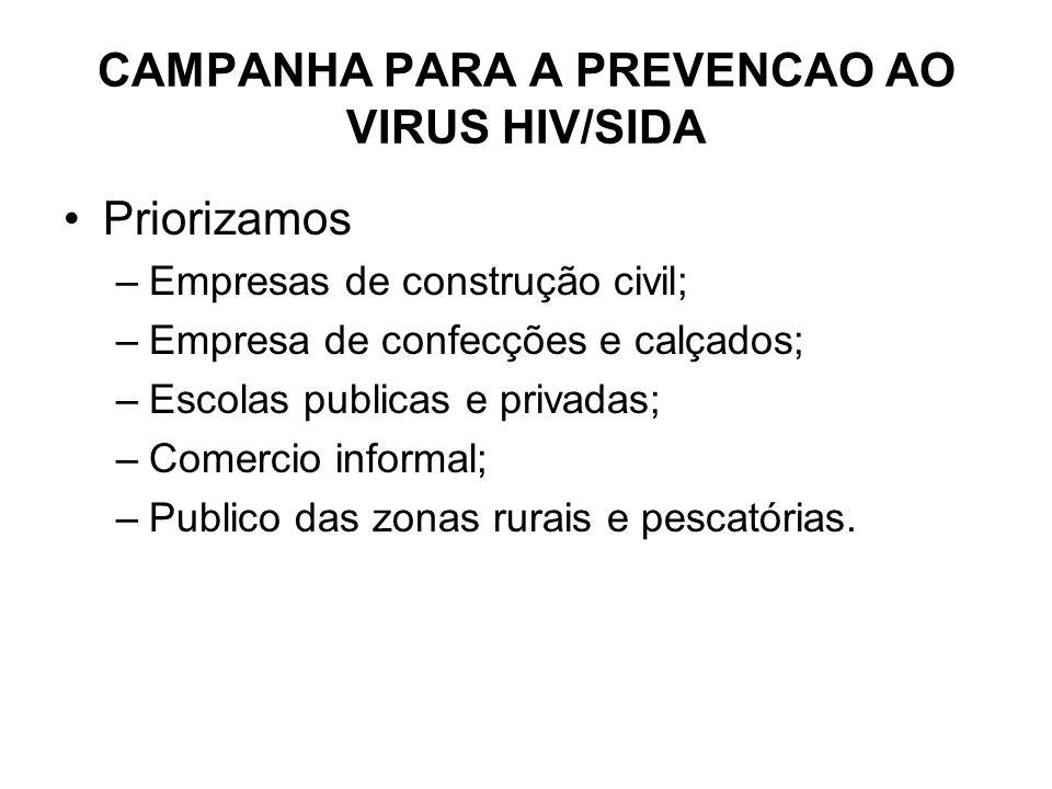 CAMPANHA PARA A PREVENCAO AO VIRUS HIV/SIDA