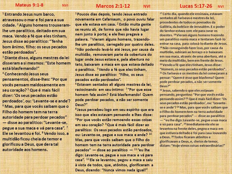 Marcos 2:1-12 NVI Lucas 5:17-26 NVI