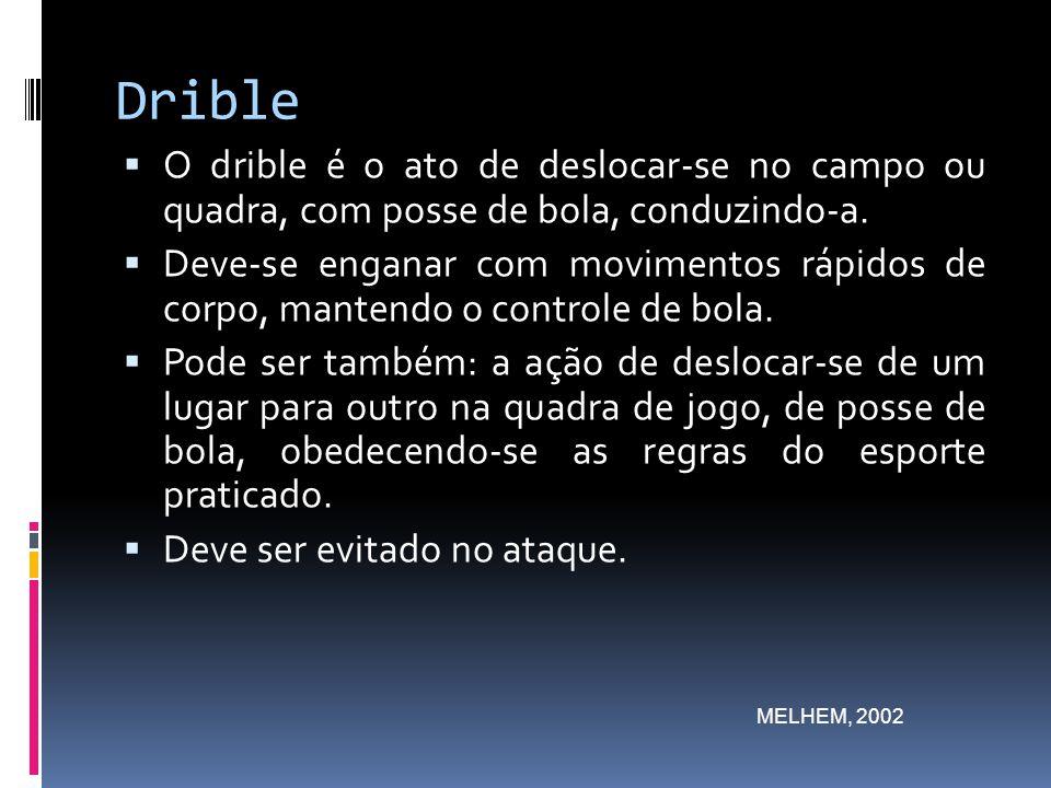 Drible O drible é o ato de deslocar-se no campo ou quadra, com posse de bola, conduzindo-a.