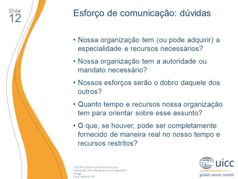 12 Esforço de comunicação: dúvidas