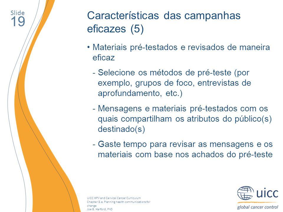 19 Características das campanhas eficazes (5)