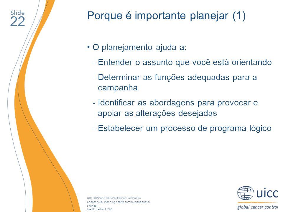 22 Porque é importante planejar (1) O planejamento ajuda a: