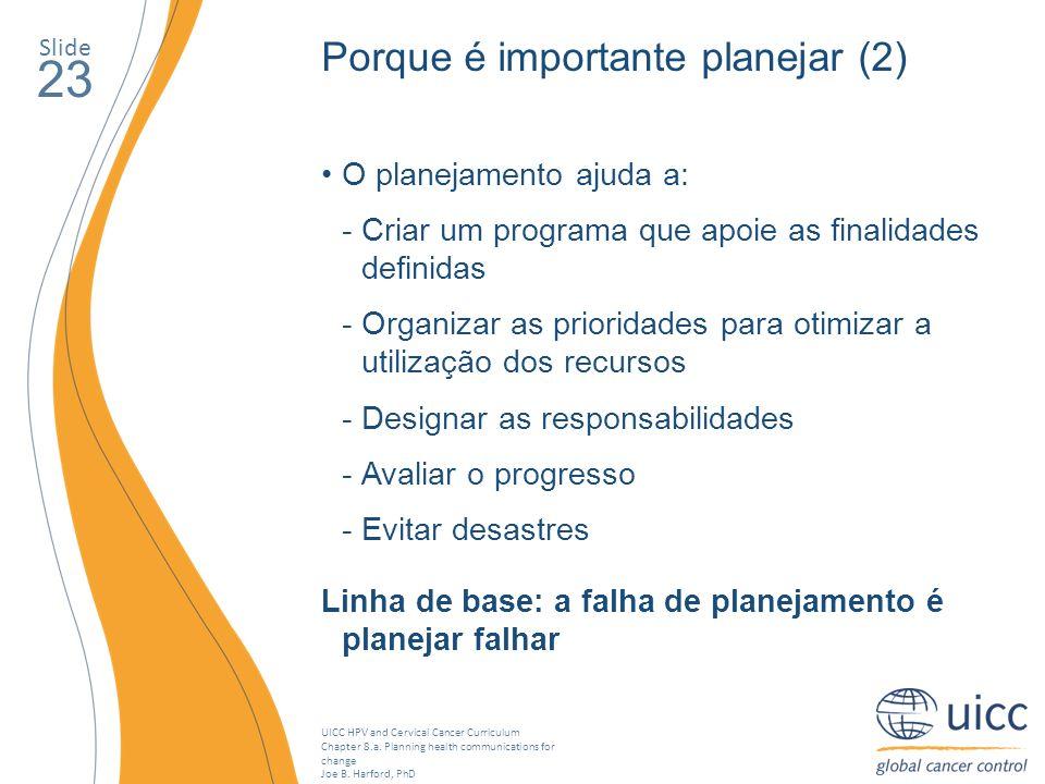 23 Porque é importante planejar (2) O planejamento ajuda a: