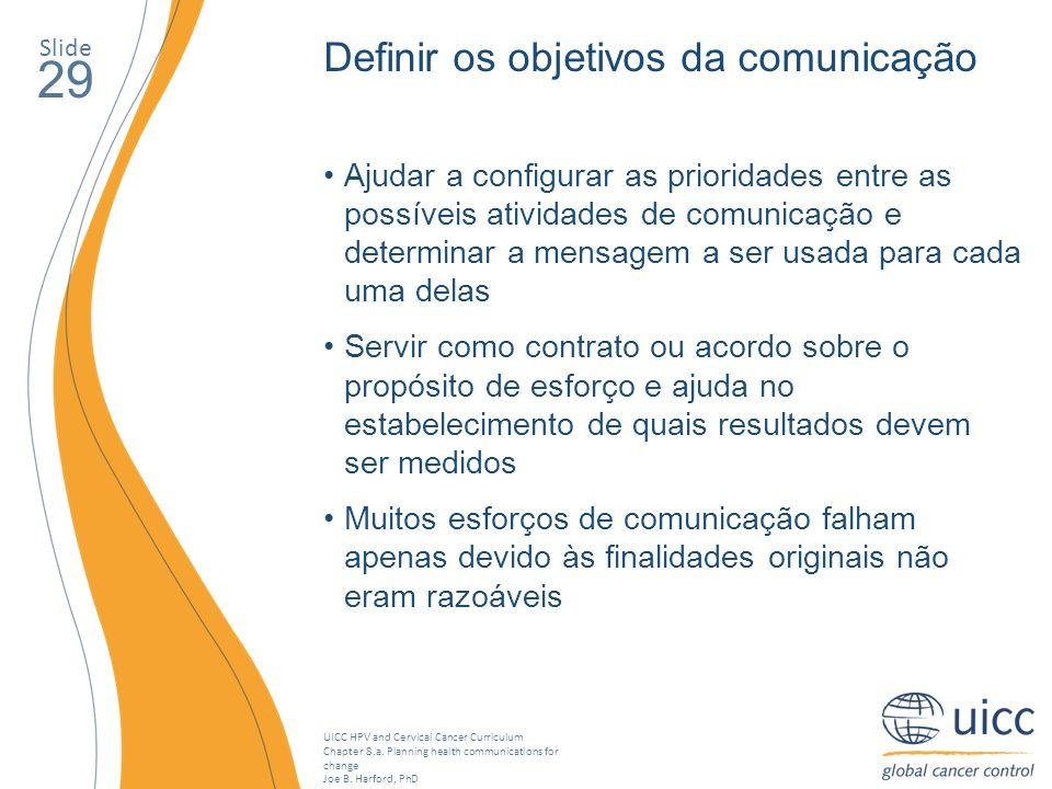 29 Definir os objetivos da comunicação