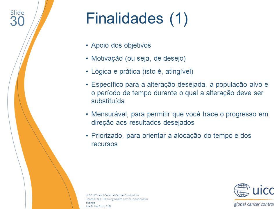 Finalidades (1) 30 Slide Apoio dos objetivos
