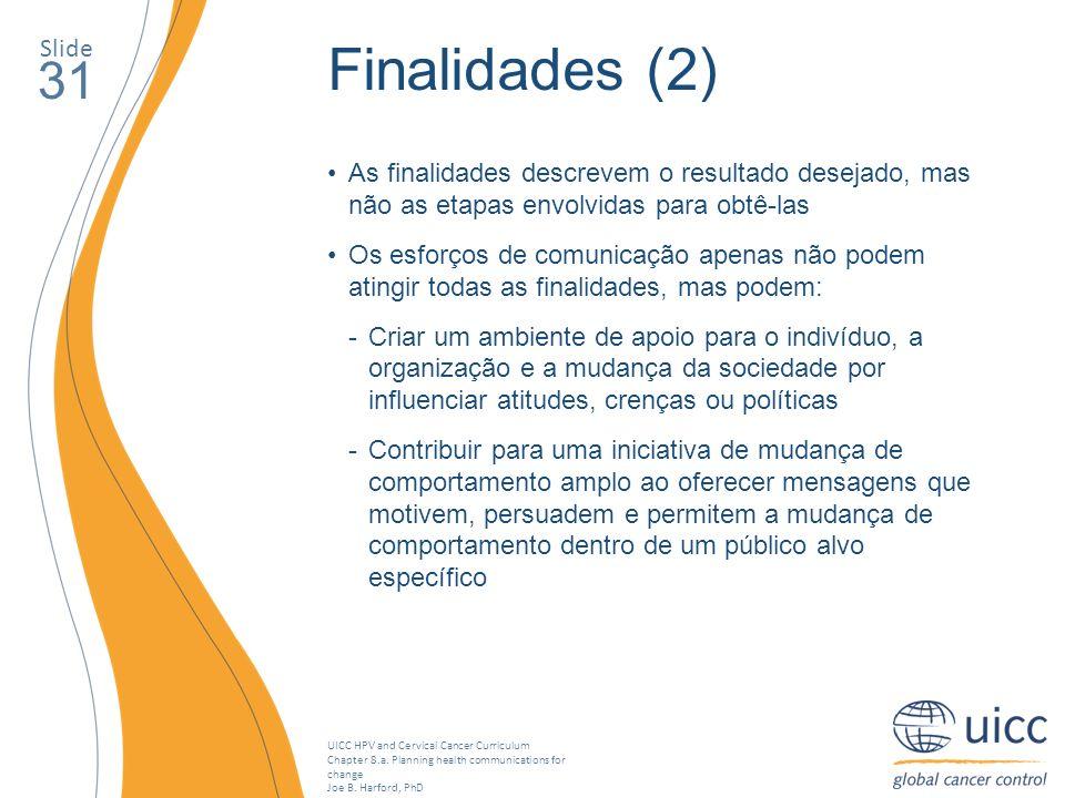 SlideFinalidades (2) 31. As finalidades descrevem o resultado desejado, mas não as etapas envolvidas para obtê-las.