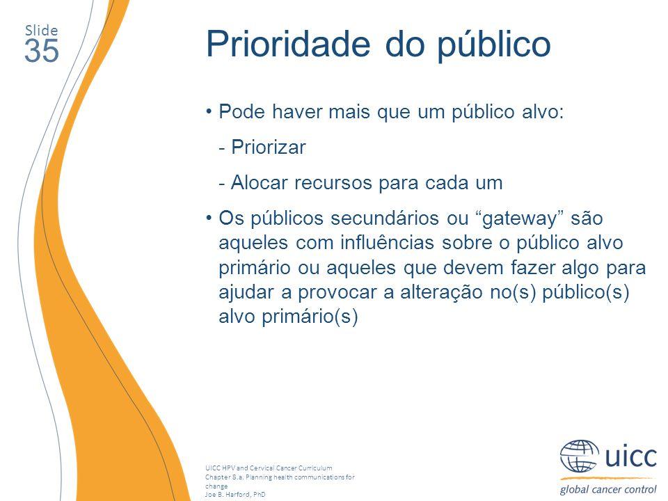 Prioridade do público 35 Pode haver mais que um público alvo: