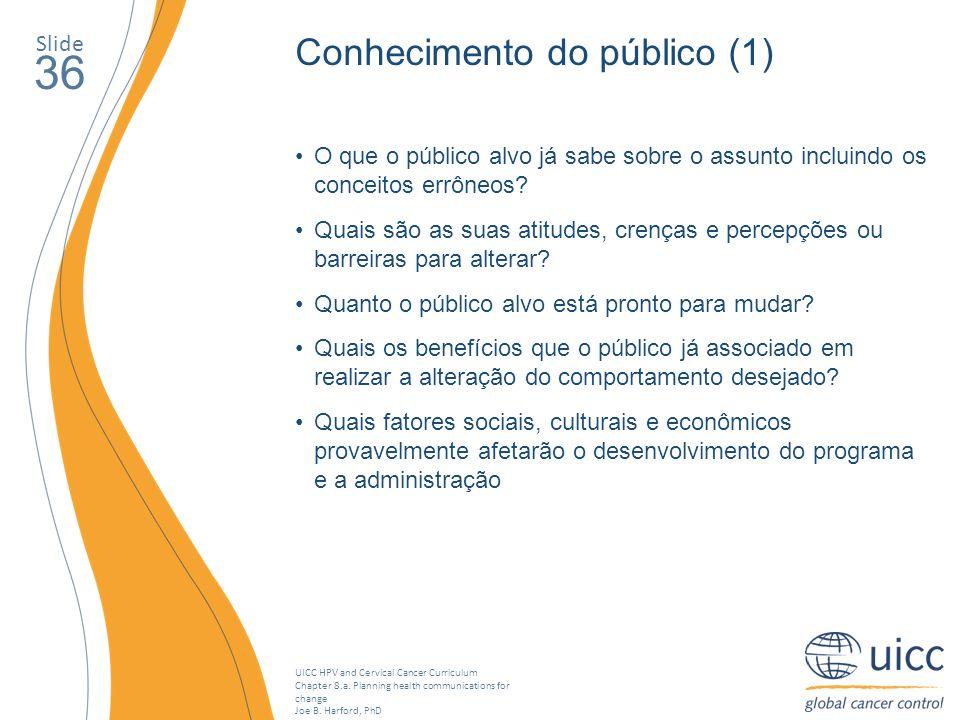 36 Conhecimento do público (1) Slide