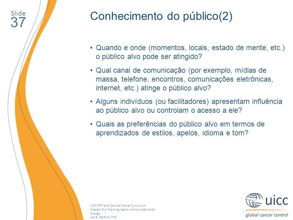 37 Conhecimento do público(2) Slide