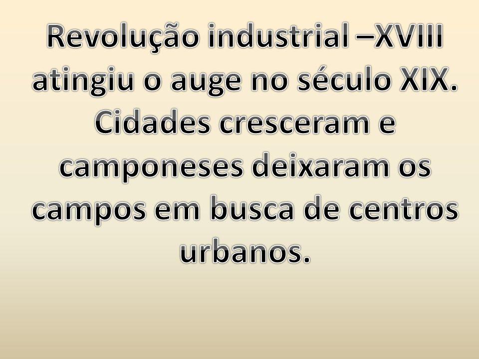 Revolução industrial –XVIII atingiu o auge no século XIX.