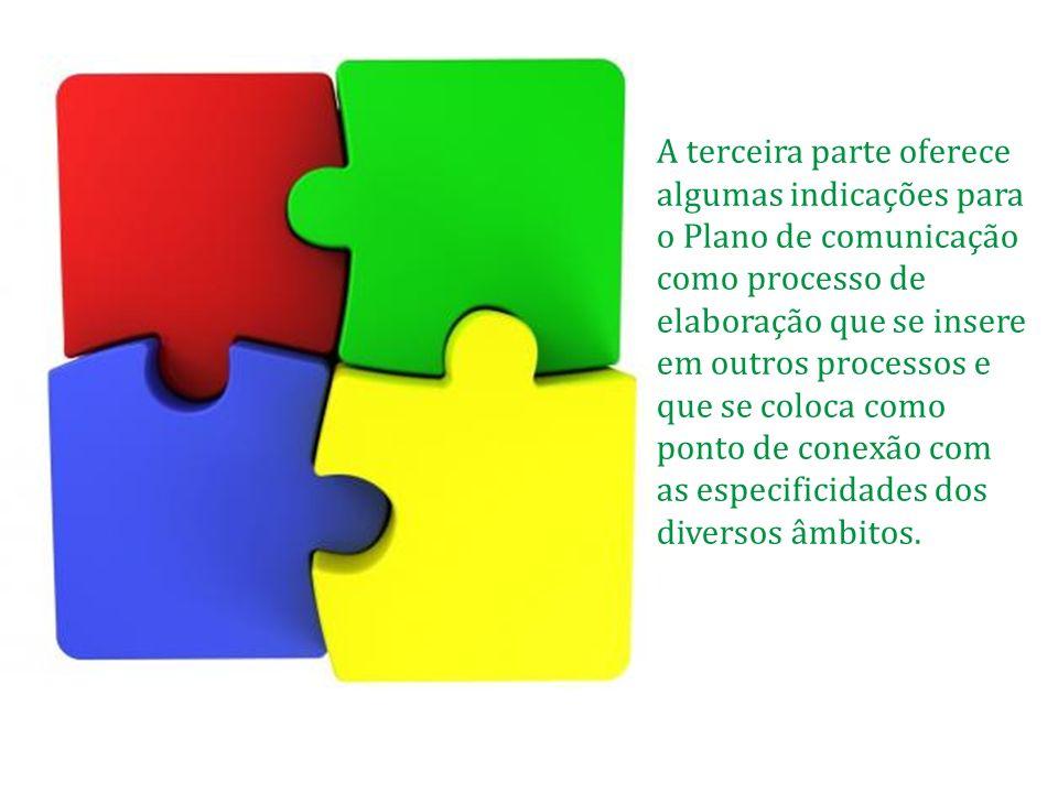A terceira parte oferece algumas indicações para o Plano de comunicação como processo de elaboração que se insere em outros processos e que se coloca como ponto de conexão com as especificidades dos diversos âmbitos.