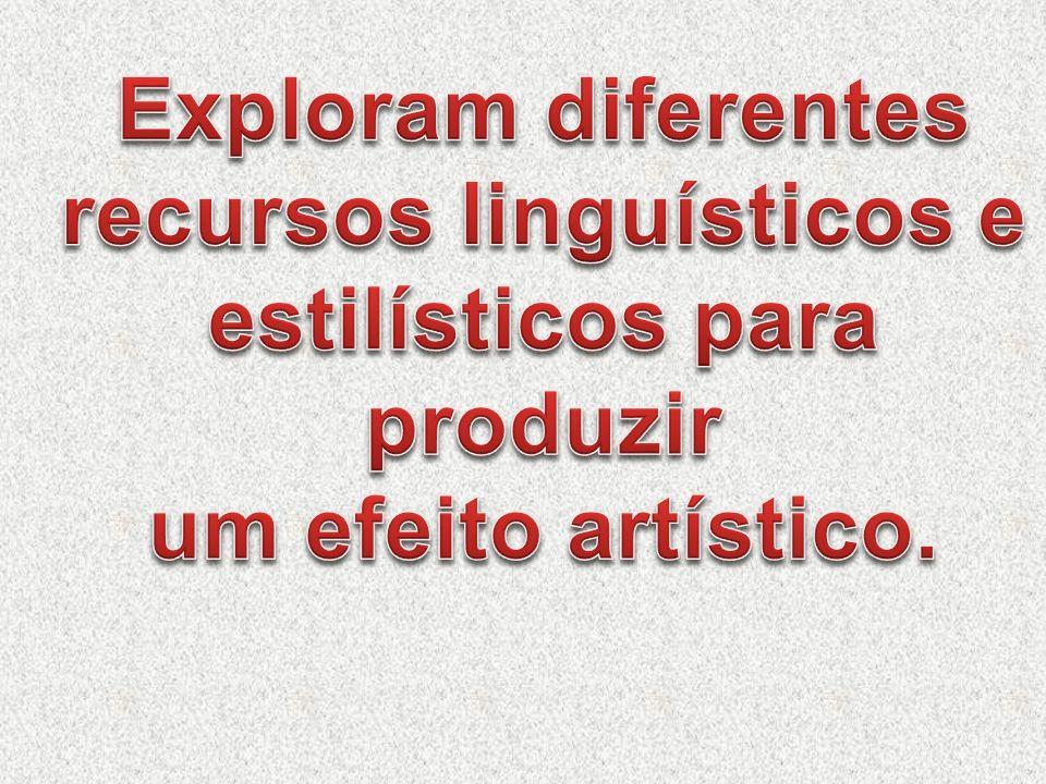 Exploram diferentes recursos linguísticos e estilísticos para produzir