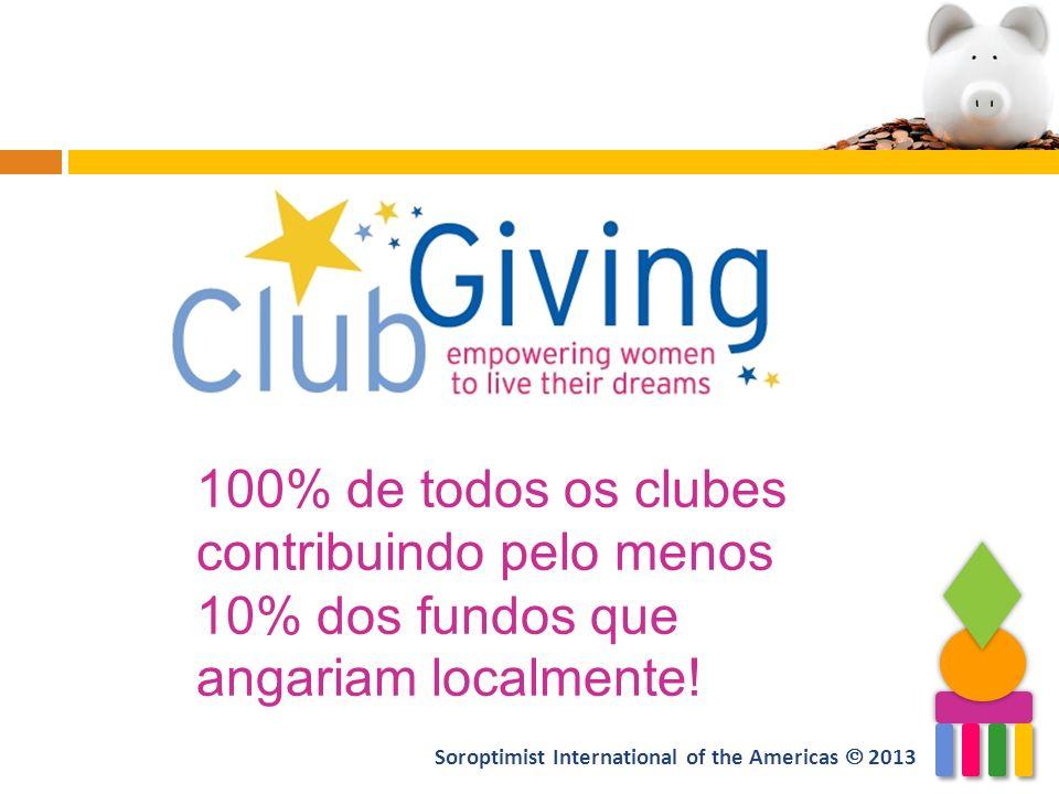 100% de todos os clubes contribuindo pelo menos 10% dos fundos que angariam localmente!