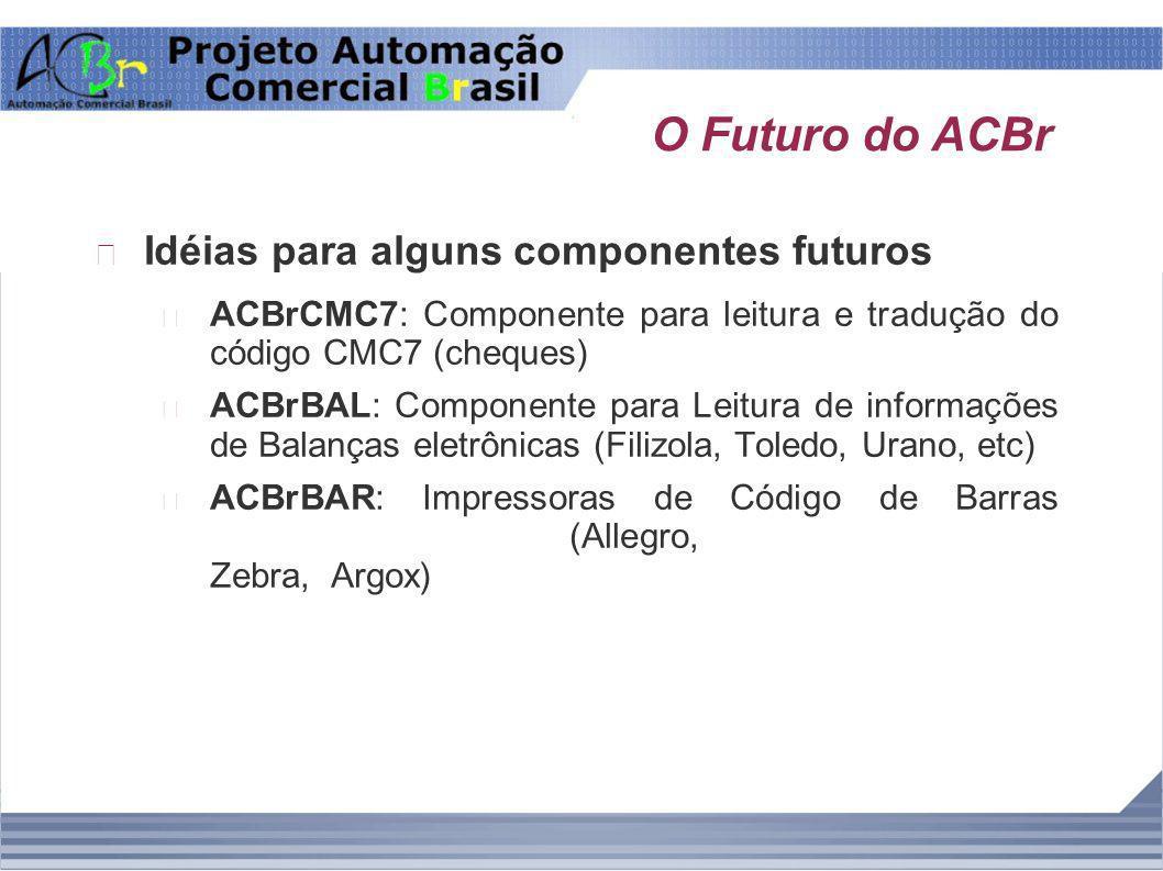 O Futuro do ACBr Idéias para alguns componentes futuros