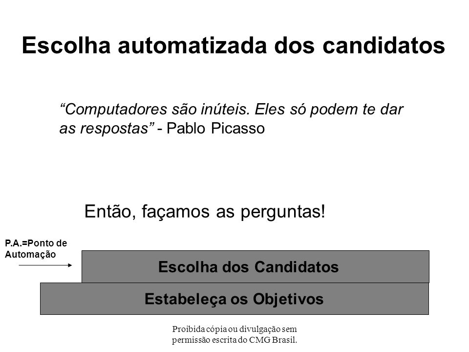 Escolha dos Candidatos Estabeleça os Objetivos