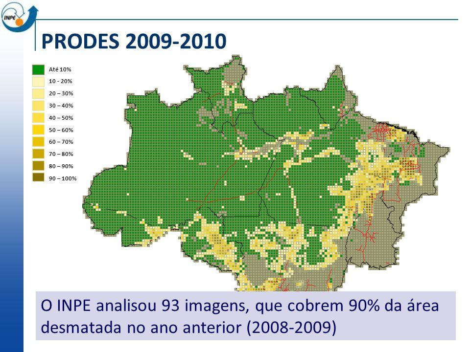 PRODES 2009-2010 Até 10% 10 - 20% 20 – 30% 30 – 40% 40 – 50% 50 – 60% 60 – 70% 70 – 80% 80 – 90%