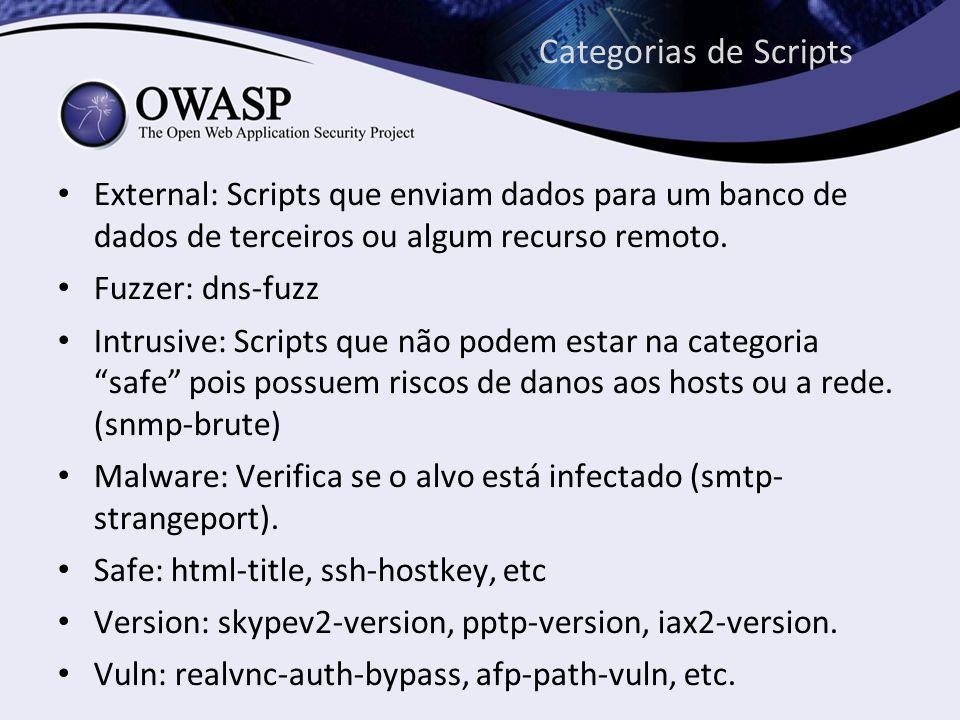 Categorias de Scripts External: Scripts que enviam dados para um banco de dados de terceiros ou algum recurso remoto.