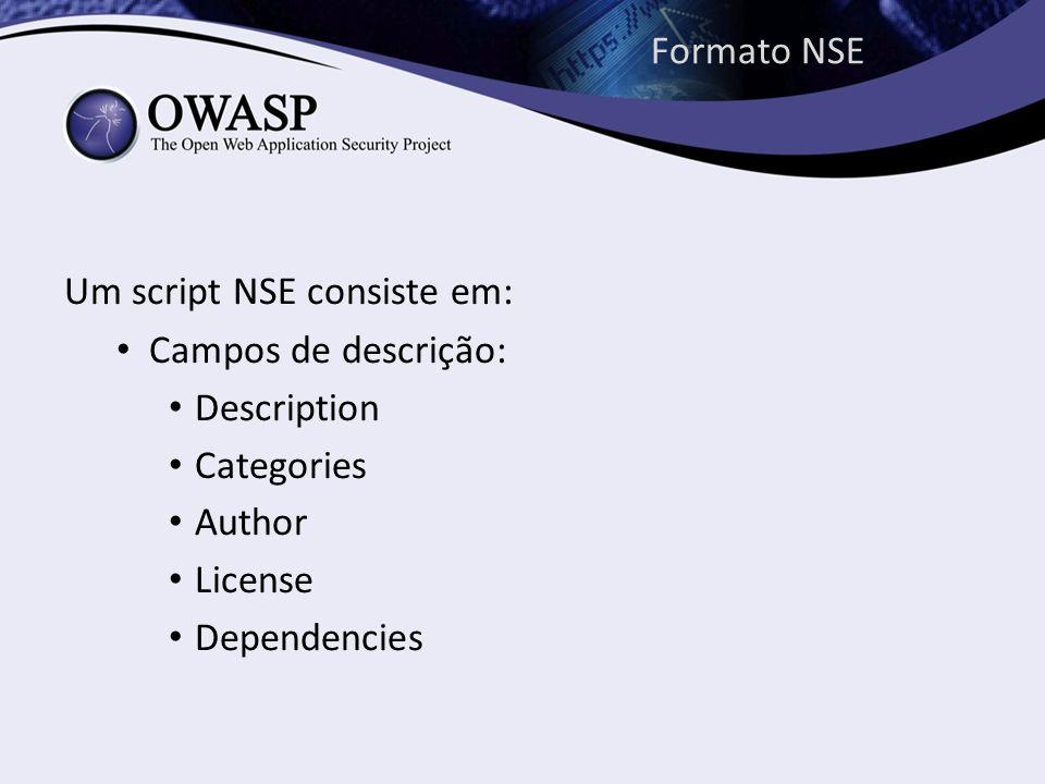 Formato NSE Um script NSE consiste em: Campos de descrição: Description. Categories. Author. License.