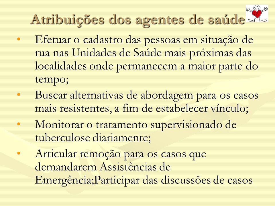 Atribuições dos agentes de saúde