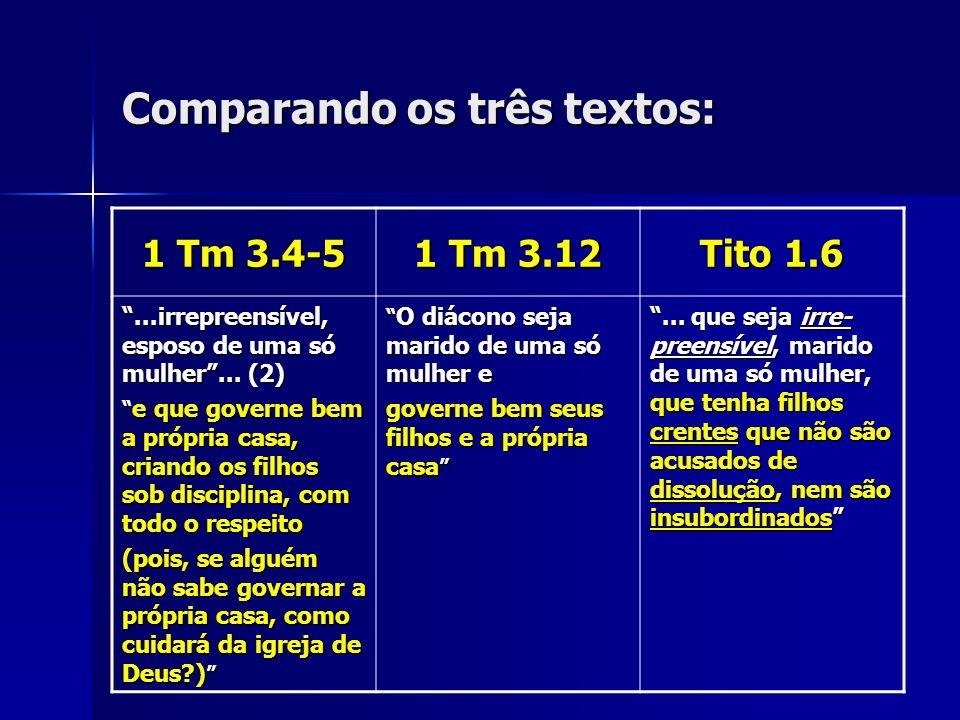Comparando os três textos: