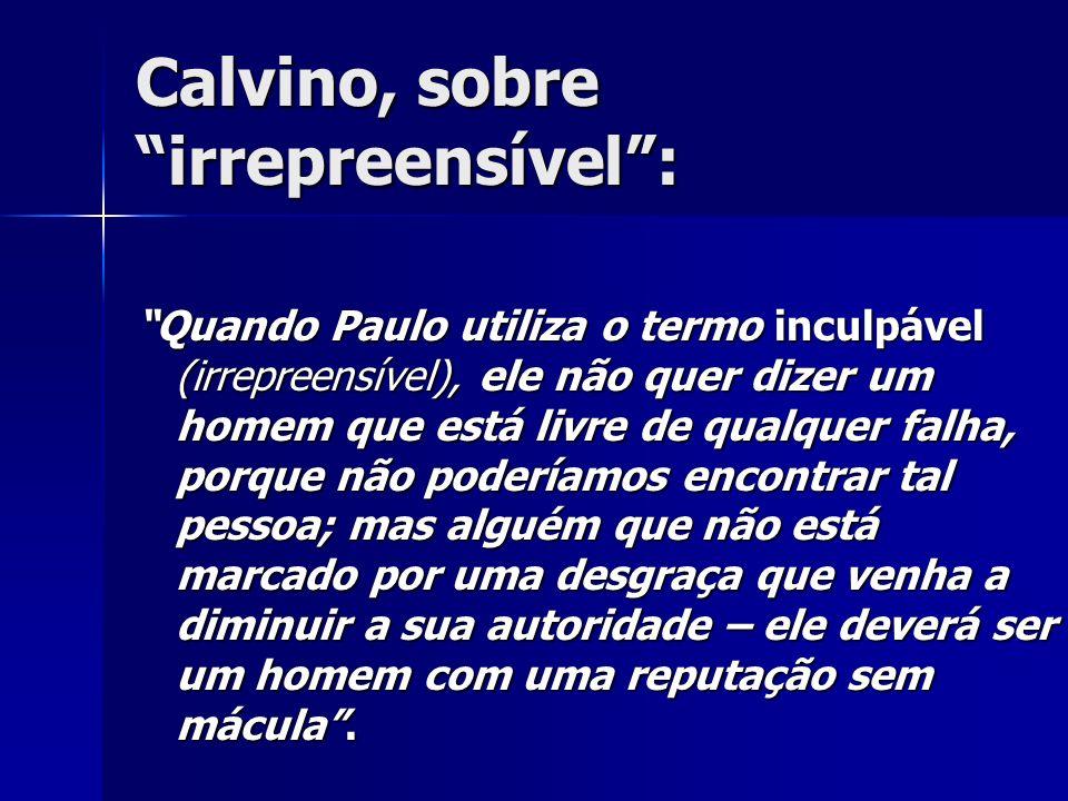 Calvino, sobre irrepreensível :