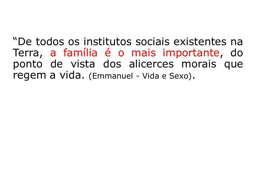 De todos os institutos sociais existentes na Terra, a família é o mais importante, do ponto de vista dos alicerces morais que regem a vida.