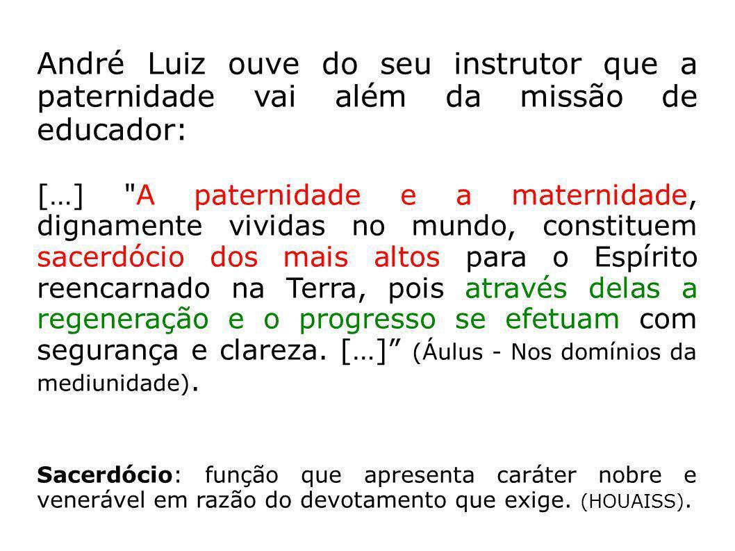 André Luiz ouve do seu instrutor que a paternidade vai além da missão de educador: